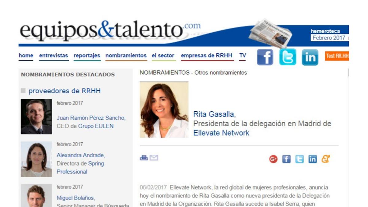 Nombramiento de Rita Gasalla, Equipos y Talento, febrero 2017