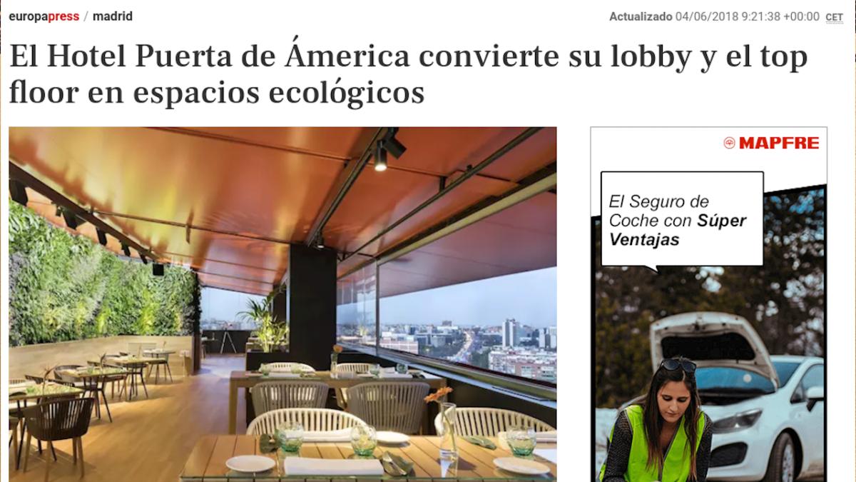 El Hotel Puerta de Ámerica convierte su lobby y el top floor en espacios ecológicos – Gente – Europa Press – Madrid es
