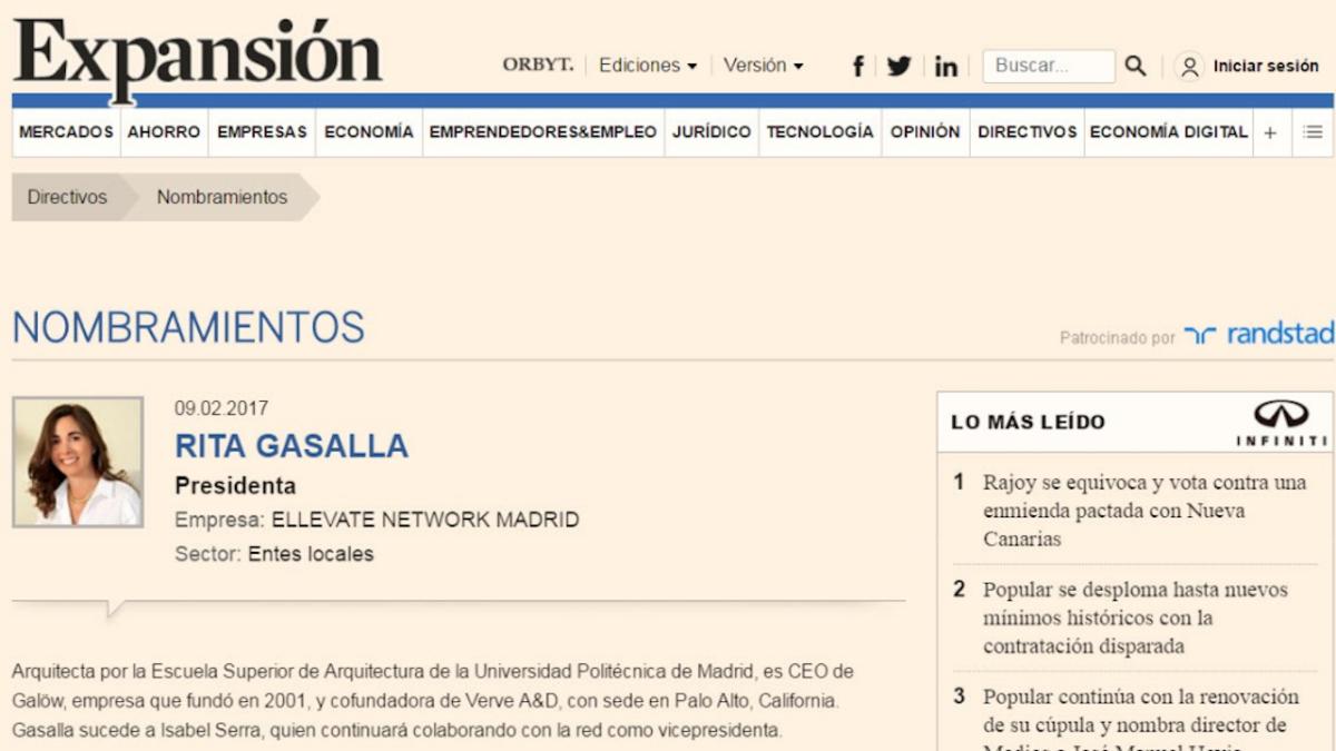 Nombramiento de Rita Gasalla en Expansión