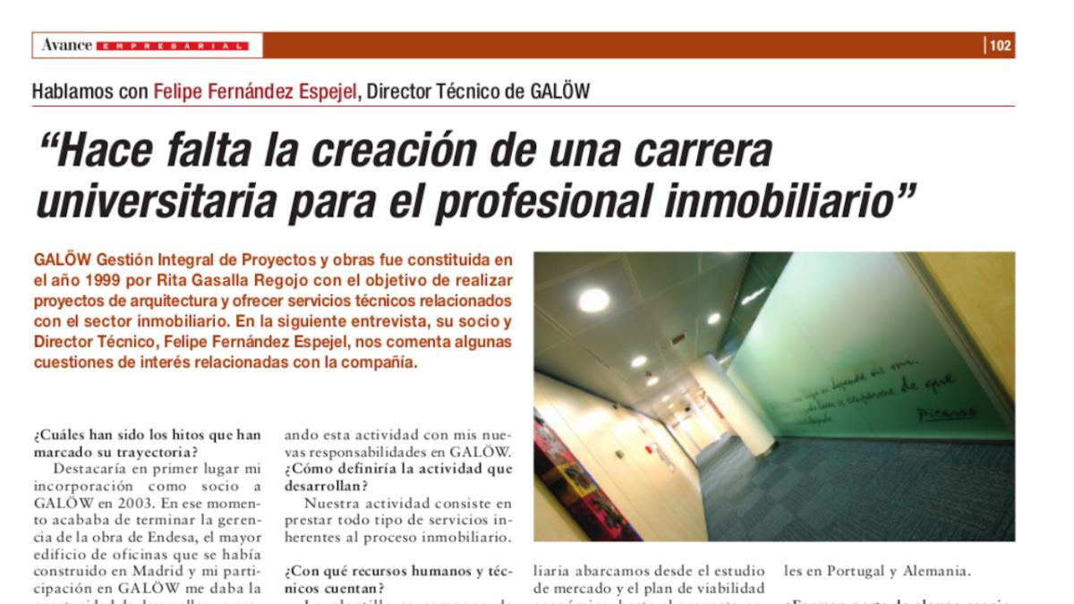 Entrevista a Felipe Fernández Espejel, La Razón octubre 2006