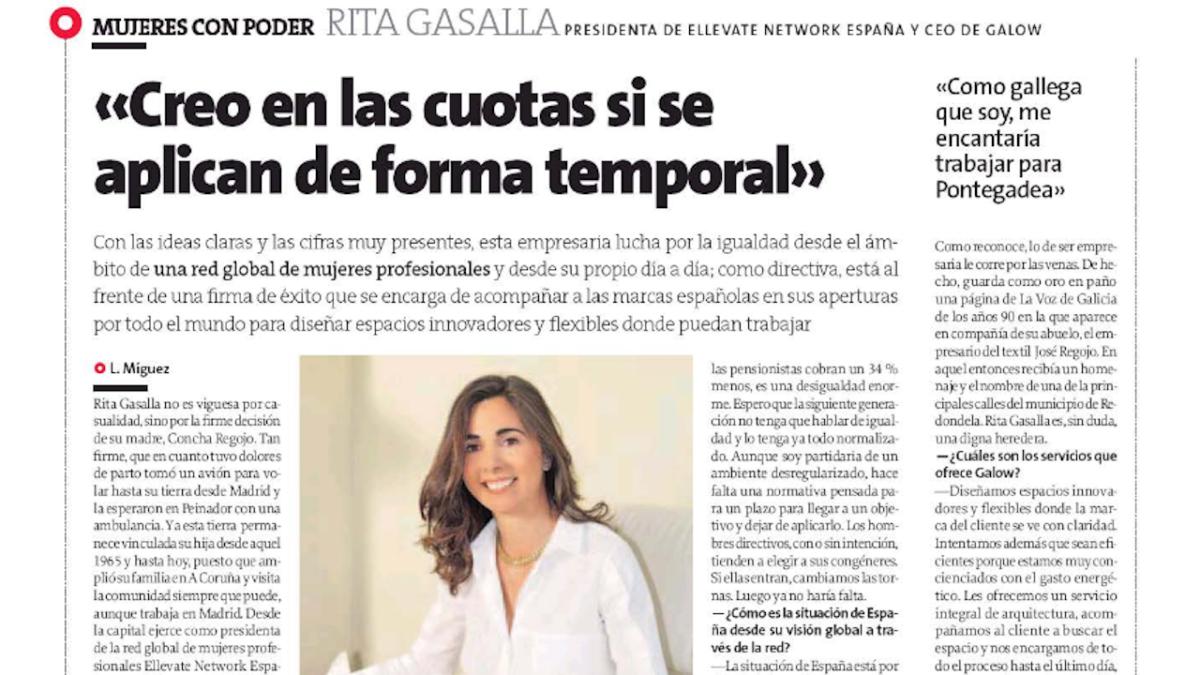 Entrevista a Rita Gasalla en La Voz de Galicia, marzo 2017