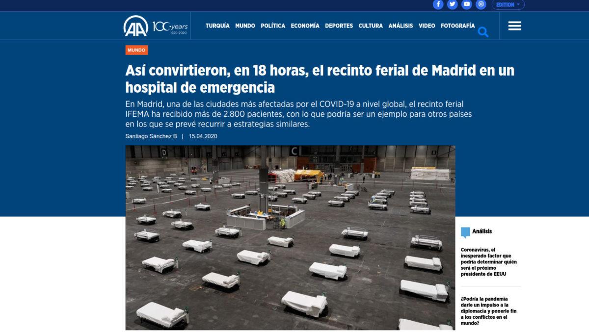 Así convirtieron, en 18 horas, el recinto ferial de Madrid en un hospital de emergencia Agencia Anadolu